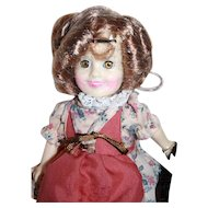 "Shirley Temple vinyl doll 7-1/2"" tall from Ideal, 1983, boxed. .Suzannah of the Mounties."