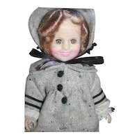 """Shirley Temple vinyl doll 11"""" tall from Ideal, 1983, boxed. Dimples outfit."""