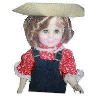"Shirley Temple vinyl doll 11"" tall from Ideal, 1983, boxed. Rebecca of Sunnybrook Farm outfit."
