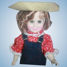 """Shirley Temple vinyl doll 11"""" tall from Ideal, 1983, boxed. Rebecca of Sunnybrook Farm outfit."""