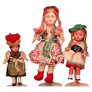 "3 Ethnic dolls in celluloid and cloth and also papier machee and cloth 6"" - 9"" tall"