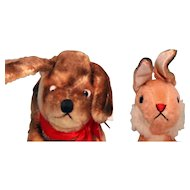 Pair of vintage stuffed animals, dog and bunny rabbit