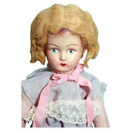 "Celluloid head 11"" French doll, marked, excellent condition"
