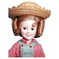 "Shirley Temple doll porcelain 14"" Danbury Mint Rebecca From Sunnybrook Farm, very good condition, original box, complete"