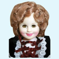 "Shirley Temple doll in vinyl 16"" tall Heidi from Ideal 1984"
