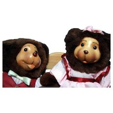 "George & Gracey Pair of 8"" Bears on a twin rocker 1992 signed by Robert Raikes"