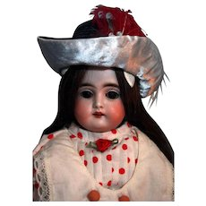 """German antique bisque doll 13"""", very good condition, leather body, Kestner mold # 148"""