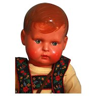 """Celluloid head boy doll 12-1/2"""" tall by Buschow and Beck / Minerva, circa approx 1910"""