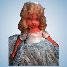 Nancy Ann Story Book Doll child #162 Princess Rosanie Painted bisque Circa 1943-1947 jointed arms and stiff legs with box, labeled  good condition