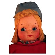 "14"" All cloth mask face Dutch doll vintage 1930's untagged that is Krueger type, Georgene  type, Mollye Goldman type doll"