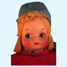 """14"""" All cloth mask face Dutch doll vintage 1930's untagged that is Krueger type, Georgene  type, Mollye Goldman type doll"""