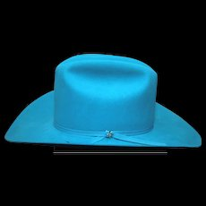"""Vintage Bailey western boy / girl hat size 7-1/8 roper long oval style XX double fur blend turquoise 4"""" longhorn in excellent condition with box."""