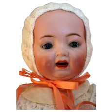 """Morimura Brothers bisque character baby doll 18"""" tall, won 2nd place ribbon at UFDC show, made in Japan"""