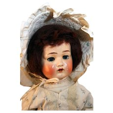 """German composition socket head doll 17"""" tall, Amusco, from 1920's."""