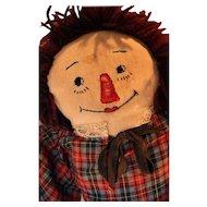 "Vintage Raggedy Ann cloth doll  21"" tall"