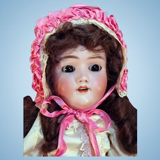 """Heinrich Handwerck antique German bisque child doll with head made by Simon Halbig 25"""" tall & compo body."""