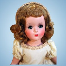 """Madame Alexander 14"""" tall Wendy Bride jointed leg doll in hard plastic with original box, circa 1950"""