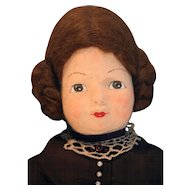 "Molded felt face artist doll cloth body 22"" Suzanne by Garida West 1982 very good quality"