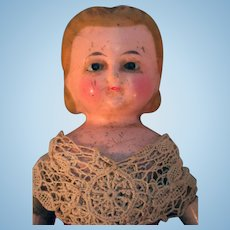 "Wax over papier mache composition 9"" doll in style of Alice in Wonderland molding from approximately 1860-1880"