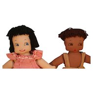 "Pair of cloth dolls with hand embroidered faces 15"" tall in very good condition from circa 1940-1950's approximately."