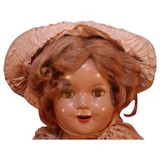 """Shirley Temple Little Colonel composition look-a-like doll in composition that is 20"""" tall from mid 1930's."""