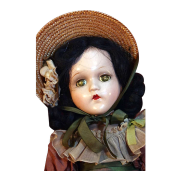 "Scarlett O'Hara 18"" tall composition doll by Madame Alexander from 1937-1949 in good condition with tagged dress"