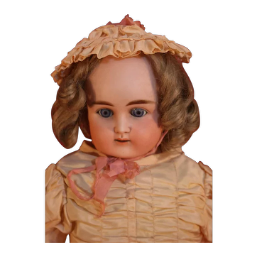 "Antique German bisque head shoulder plate doll by Alt, Beck & Gottschalck 22"" tall from approximately 1885-1911 in good condition."