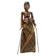 "Indonesian wood carved hand puppet 21"" tall."