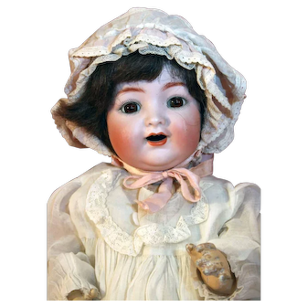 """Antique bisque baby/toddler doll 16"""" tall by Kammer and Reinhardt mold # 126, wigged from 1909."""