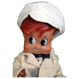 """Puzzy composition character boy doll in good condition, googly eyes, very cute from 1948 15"""" tall"""