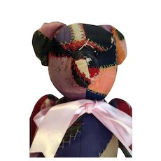 "Vintage 16"" tall crazy quilt covered teddy bear that is jointed."