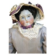 "Modified flat top style antique china head doll 25"" tall from 1860"