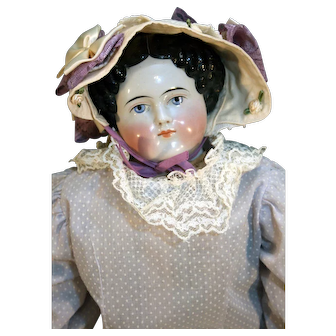 """Modified flat top style antique china head doll 25"""" tall from 1860"""