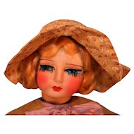 "Blossom Doll Co Cloth Doll Circa 1920's 24"" NRA Tag on Dress"