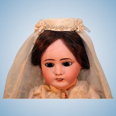 "Antique French Bisque Head Bride Doll 17"" Tall on Replaced Sealey French body"