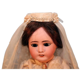"""Antique French Bisque Head Bride Doll 17"""" Tall on Replaced Sealey French body"""