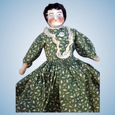 "China Head Doll 7"" Tall Black Glazed Hair Muslin Body"