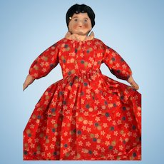 "China Head Doll 7"" Tall Black Glazed Hair Muslin Body"