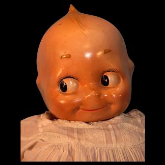 "Kewpie Doll 22"" Tall Composition Head Soft Pink Cloth Body Light Blue Feet Large Googly Eyes"