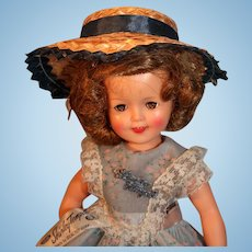 "Shirley Temple 12"" Tall Vinyl Doll by Ideal Circa 1957  Marked ST-12-N Original Panties Shoes Socks Tagged Dress"