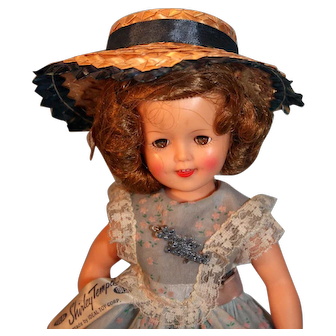 """Shirley Temple 12"""" Tall Vinyl Doll by Ideal Circa 1957  Marked ST-12-N Original Panties Shoes Socks Tagged Dress"""