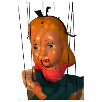 """Alice In Wonderland Marionette Made by Peter Puppet Circa 1950s 14"""" Tall.  Her head Hands and Legs are Composition."""