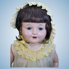 """21"""" Tall Composition Patsy Type Unmarked Mohair Wig and Crier"""