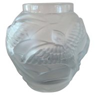 Frosted Art Glass Vase w/ Swallow Motif