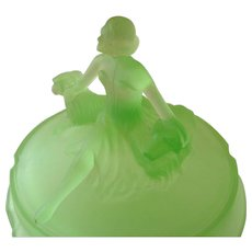 Art Deco Frosted Green Glass Powder Dish with Lady and Dogs