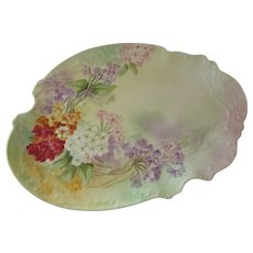 Circa 1890-1908 P.H. Leonard  Hand Painted Serving Platter