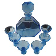 Art Deco Blue Tinted Glass Liqueur Set