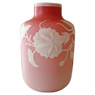 English Cameo Glass- White cut to Shades of Pink