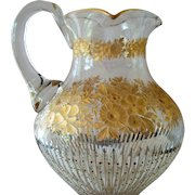 Prism Motif Cut Glass Water Pitcher with Gilding