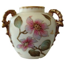 Carlsbad Austria Three Handle Hand Painted Porcelain Vase